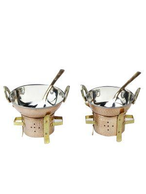 3 x Copper Karahi n Serving Spoons